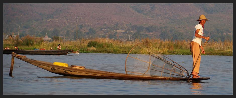One Leg Paddling Fisherman, Inle Lake, Myanmar